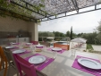 Outdoor eating by the pool with fully equipped kitchen